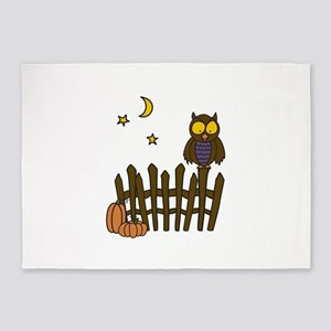 Owl On Fence 5'x7'Area Rug