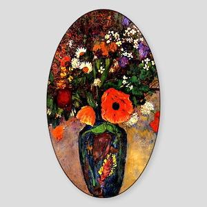 Vase de Fleurs by Odilon Redon Sticker (Oval)