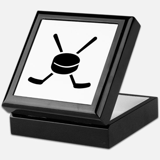 Crossed hockey sticks puck Keepsake Box