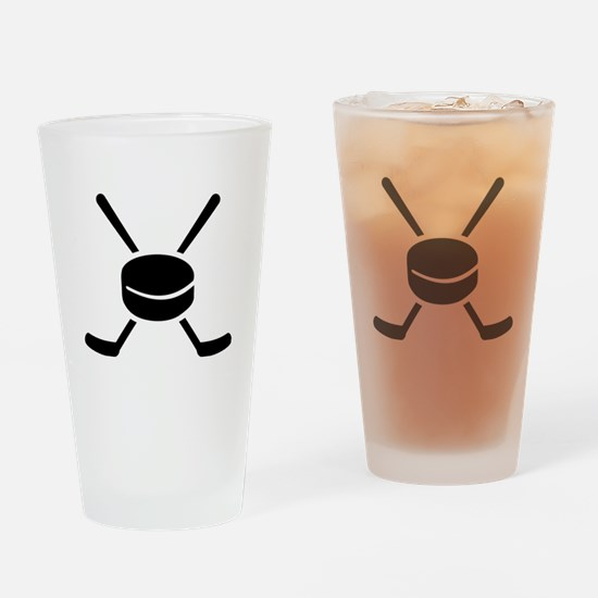 Crossed hockey sticks puck Drinking Glass