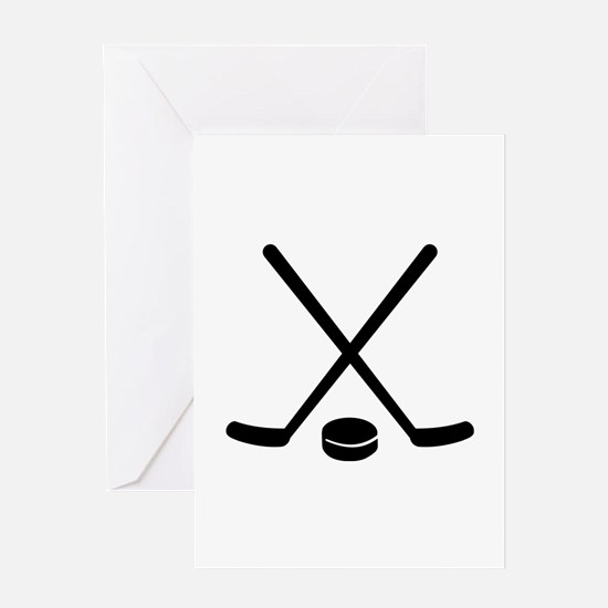 Hockey sticks puck Greeting Card