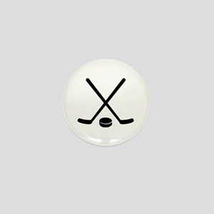 Hockey sticks puck Mini Button