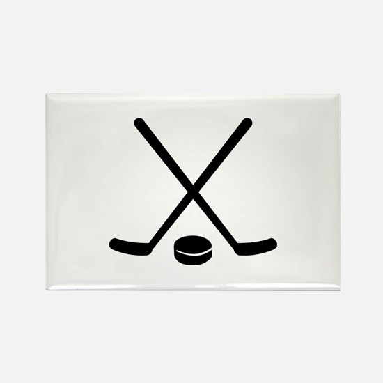 Hockey sticks puck Rectangle Magnet