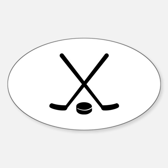 Hockey sticks puck Sticker (Oval)