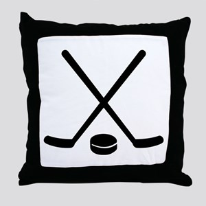Hockey sticks puck Throw Pillow