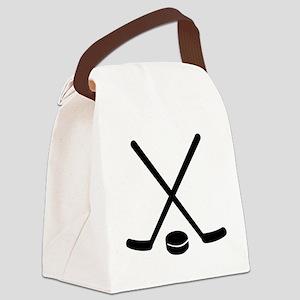 Hockey sticks puck Canvas Lunch Bag