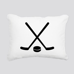 Hockey sticks puck Rectangular Canvas Pillow