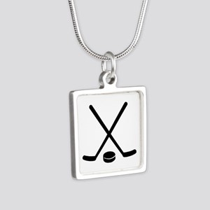 Hockey sticks puck Silver Square Necklace