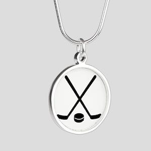 Hockey sticks puck Silver Round Necklace