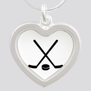 Hockey sticks puck Silver Heart Necklace