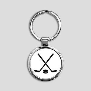Hockey sticks puck Round Keychain