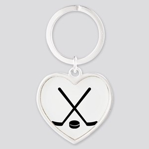 Hockey sticks puck Heart Keychain