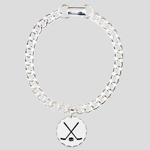Hockey sticks puck Charm Bracelet, One Charm