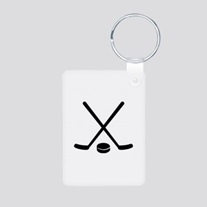 Hockey sticks puck Aluminum Photo Keychain