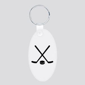 Hockey sticks puck Aluminum Oval Keychain