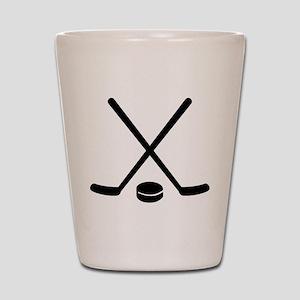 Hockey sticks puck Shot Glass