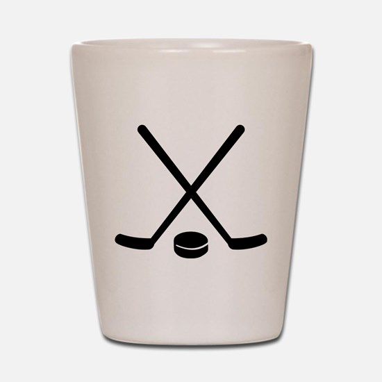 Hockey sticks puck Shot Glass