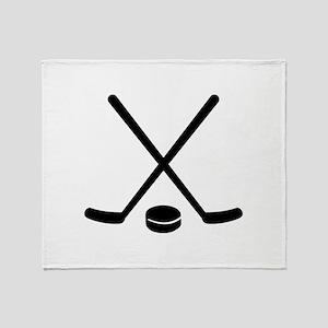 Hockey sticks puck Throw Blanket