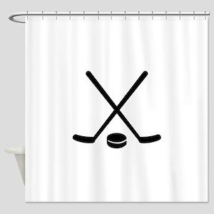 Hockey sticks puck Shower Curtain