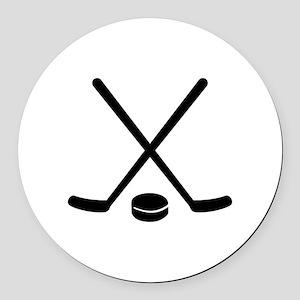Hockey sticks puck Round Car Magnet