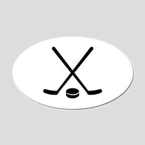 Hockey sticks puck 20x12 Oval Wall Decal