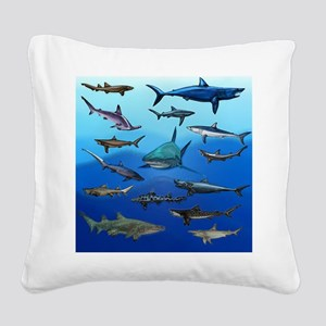 Shark Gathering Square Canvas Pillow