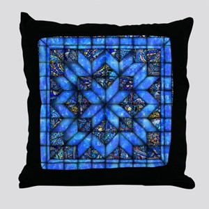 Blue Paisley Quilt Throw Pillow