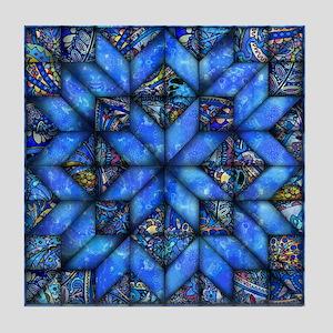 Blue Paisley Quilt Tile Coaster