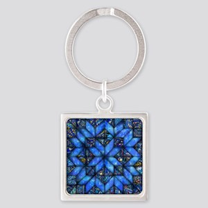 Blue Paisley Quilt Keychains