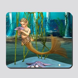 Little Mermaid holding Anemone Flower Mousepad