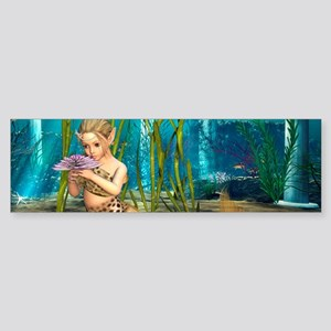 Little Mermaid holding Anemone Flower Bumper Stick