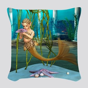 Little Mermaid holding Anemone Flower Woven Throw