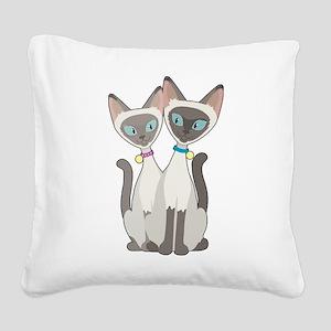 Siamese Cats Square Canvas Pillow