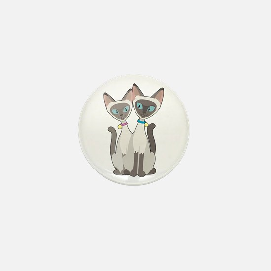 Siamese Cats Mini Button