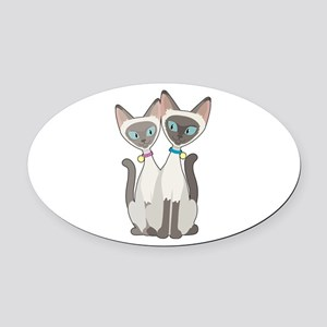 Siamese Cats Oval Car Magnet