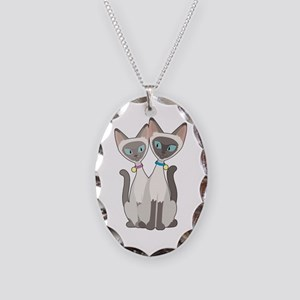 Siamese Cats Necklace Oval Charm
