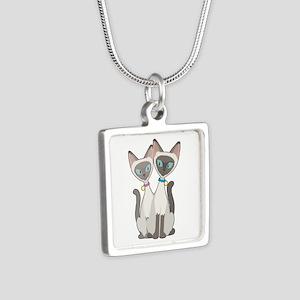Siamese Cats Silver Square Necklace