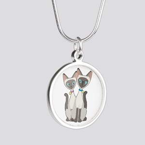 Siamese Cats Silver Round Necklace
