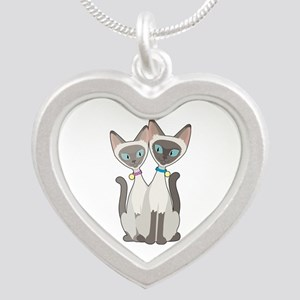 Siamese Cats Silver Heart Necklace