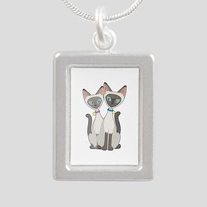 Siamese Cats Silver Portrait Necklace