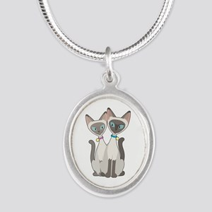 Siamese Cats Silver Oval Necklace