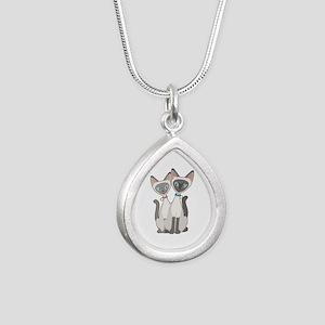 Siamese Cats Silver Teardrop Necklace