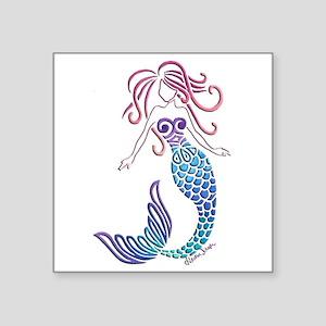 "Tribal Mermaid Square Sticker 3"" X 3"""