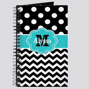 Black Teal Dots Chevron Personalized Journal