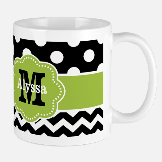 Black Green Dots Chevron Personalized Mugs