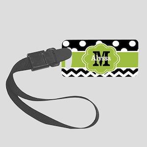 Black Green Dots Chevron Personalized Luggage Tag