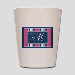 Navy Monogram Stripes Shot Glass