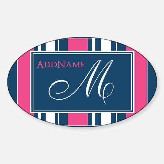 Navy Monogram Stripes Decal