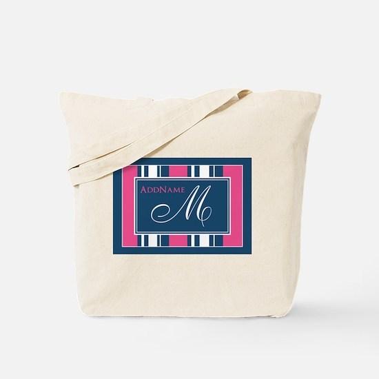 Navy Monogram Stripes Tote Bag