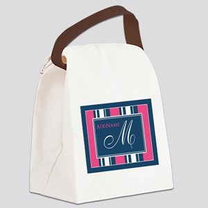 Navy Monogram Stripes Canvas Lunch Bag